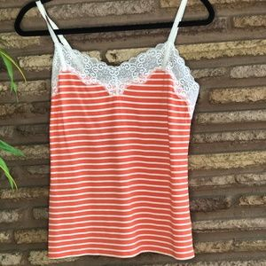 Trina Turk Striped Orange White Lace Camisole Tank